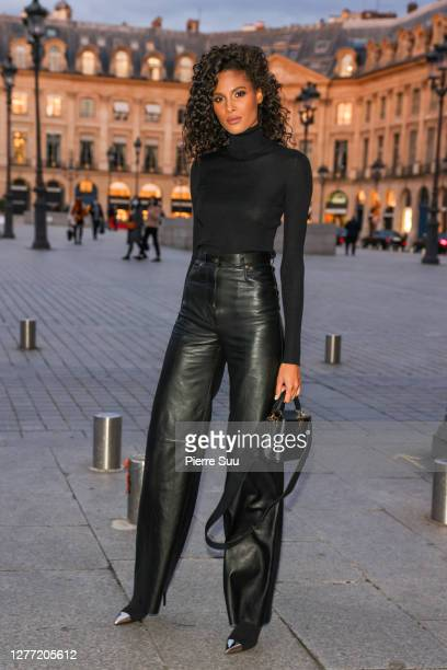 Model Cindy Bruna arrives at a Vuitton dinner party on September 28 2020 in Paris France