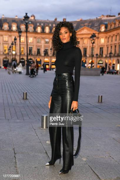 Model Cindy Bruna arrives at a Vuitton dinner party on September 28, 2020 in Paris, France.