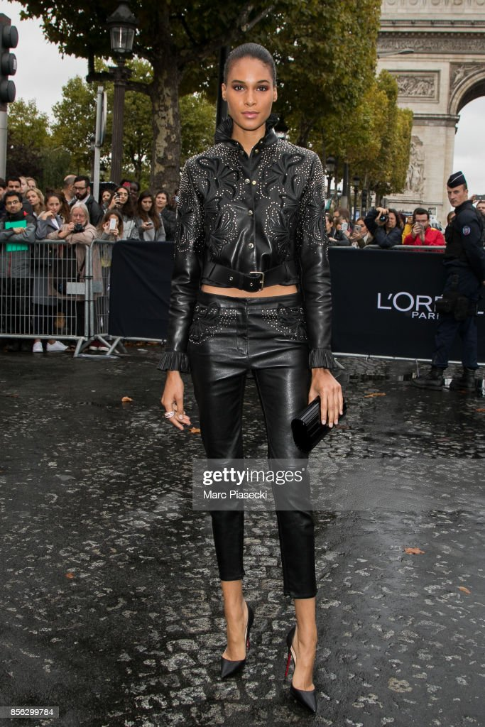 Model Cindy Bruna attends Le Defile L'Oreal Paris as part of Paris Fashion Week Womenswear Spring/Summer 2018 at Avenue Des Champs Elysees on October 1, 2017 in Paris, France.