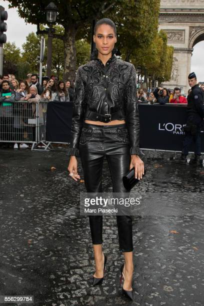 Model Cindy Bruna attends Le Defile L'Oreal Paris as part of Paris Fashion Week Womenswear Spring/Summer 2018 at Avenue Des Champs Elysees on October...