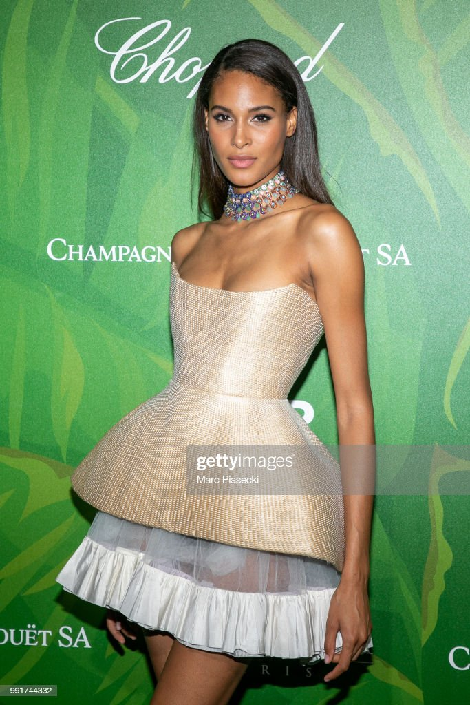 Model Cindy Bruna attends the amfAR Paris Dinner 2018 at The Peninsula Hotel on July 4, 2018 in Paris, France.