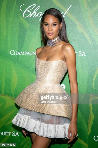 Model Cindy Bruna attends the amfAR Paris Dinner 2018 at The Peninsula Hotel on July 4 2018 in Paris France