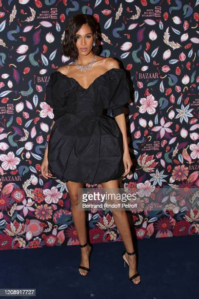 Model Cindy Bruna attends the Harper's Bazaar Exhibition as part of the Paris Fashion Week Womenswear Fall/Winter 2020/2021 At Musee Des Arts...