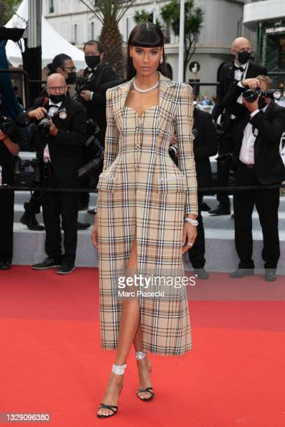 """Model Cindy Bruna attends the """"Les Intranquilles """" screening during the 74th annual Cannes Film Festival on July 16, 2021 in Cannes, France."""