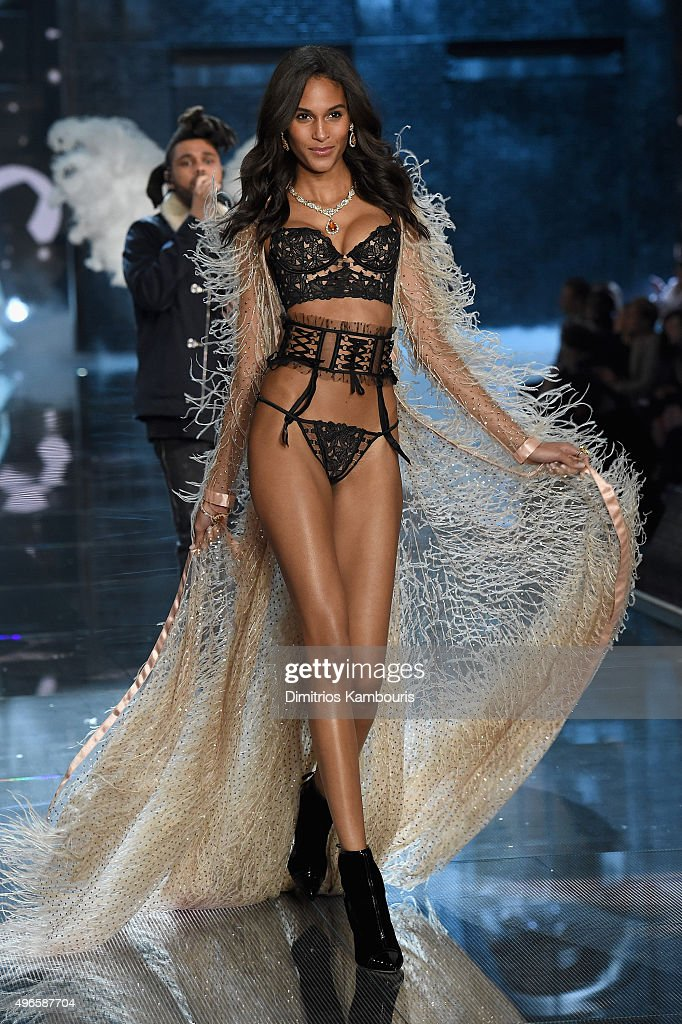 Model Cindy Bruna from France walks the runway during the 2015 Victoria's Secret Fashion Show at Lexington Avenue Armory on November 10, 2015 in New York City.