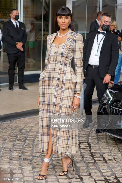 Model Cindy Bruna is seen during the 74th annual Cannes Film Festival at on July 16, 2021 in Cannes, France.