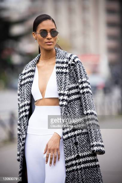 Model Cindy Bruna is seen outside Balmain fashion show on February 28 2020 in Paris France