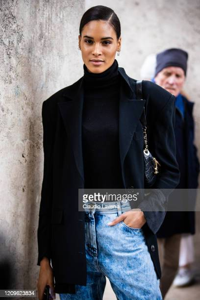 Model Cindy Bruna is seen outside Elie Saab fashion show on February 29 2020 in Paris France