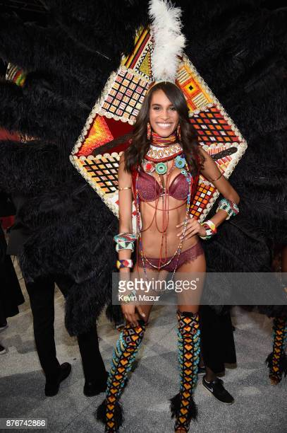 Model Cindy Bruna poses backstage during 2017 Victoria's Secret Fashion Show In Shanghai at MercedesBenz Arena on November 20 2017 in Shanghai China