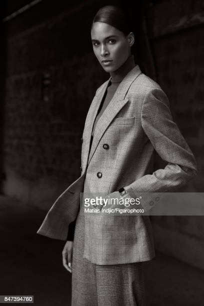 Model Cindy Bruna poses for Madame Figaro on June 2 2017 in Paris France Prince de Galles Jacket pags sweater watch CREDIT MUST READ Matias...
