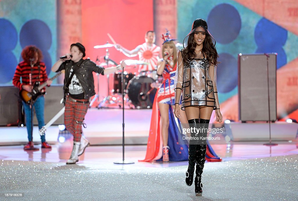 Model Cindy Bruna walks the runway at the 2013 Victoria's Secret Fashion Show at Lexington Avenue Armory on November 13, 2013 in New York City.