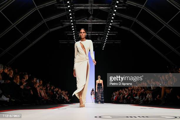 Model Cindy Bruna walks the runway at the Elisabetta Franchi show at Milan Fashion Week Autumn/Winter 2019/20 on February 23 2019 in Milan Italy