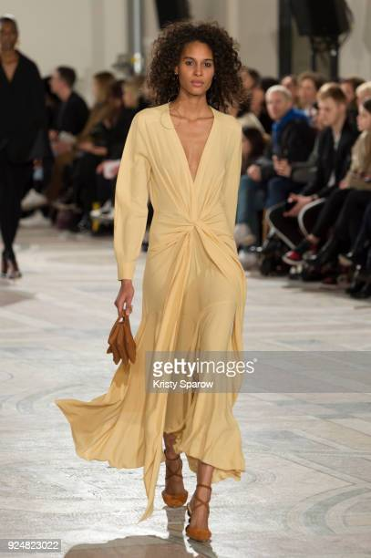 Model Cindy Bruna walks the runway during the Jacquemus show as part of the Paris Fashion Week Womenswear Fall/Winter 2018/2019 on February 26, 2018...