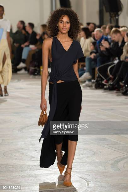 Model Cindy Bruna walks the runway during the Jacquemus show as part of the Paris Fashion Week Womenswear Fall/Winter 2018/2019 on February 26 2018...