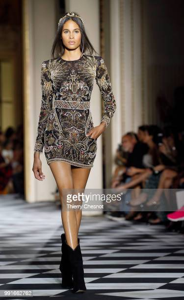 Model Cindy Bruna walks the runway during the Zuhair Murad Haute Couture Fall Winter 2018/2019 show as part of Paris Fashion Week on July 4 2018 in...