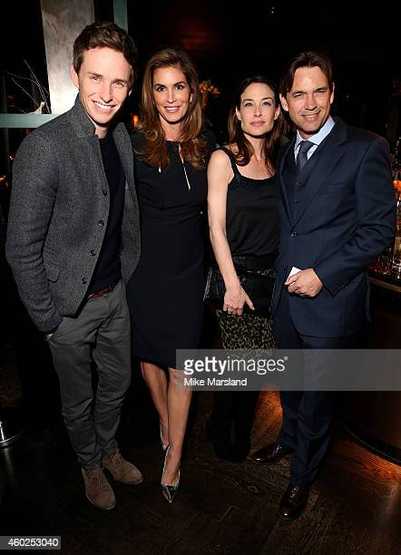 Model Cindy Crawford actors Eddie Redmayne Claire Forlani and Dougray Scott attend the Omega Oxford Street Store Opening Party at The Shard on...