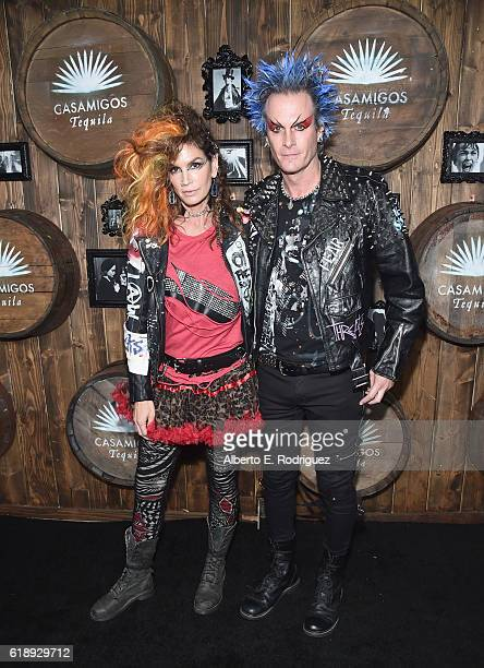 Model Cindy Crawford and Casamigos co-founder Rande Gerber arrive to the Casamigos Halloween Party at a private residence on October 28, 2016 in...