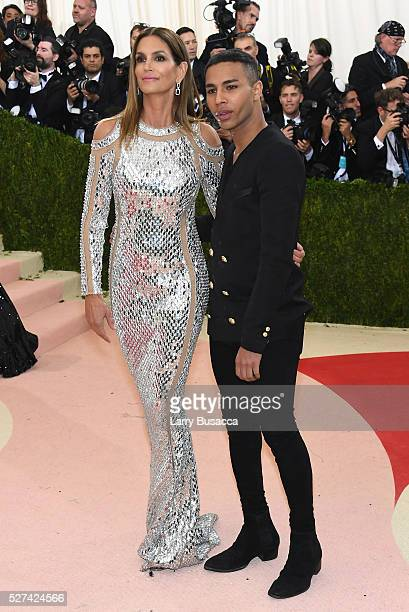Model Cindy Crawford and fashion designer Olivier Rousteing attend the 'Manus x Machina Fashion In An Age Of Technology' Costume Institute Gala at...