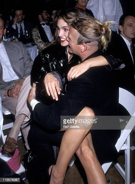 Model Cindy Crawford and guest attend 'The Love Ball' to Benefit the Design Industries Foundation for AIDS on May 10 1989 at Roseland in New York City