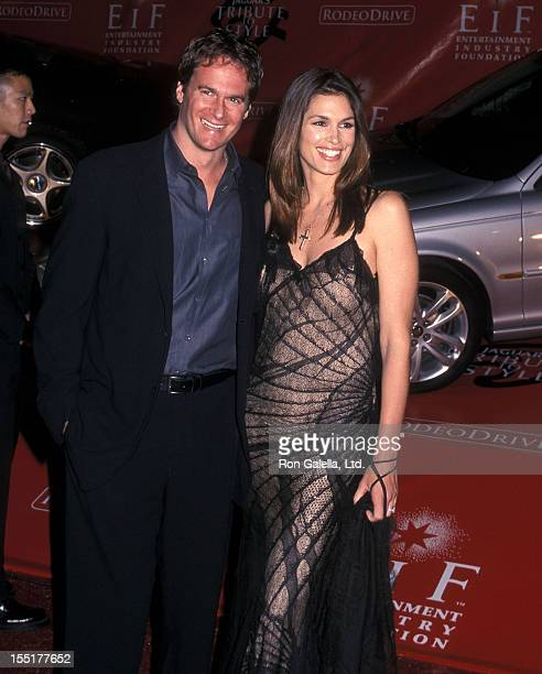 Model Cindy Crawford and husband Rande Gerber attend Marc Anthony Pilots Jaguars Tribute to Style on March 18 2001 at The Barker Hangar Santa Monica...