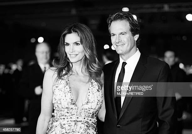 Model Cindy Crawford and Rande Gerber are photographed at the 2014 LACMA Art Film Gala Honoring Barbara Kruger And Quentin Tarantino Presented By...