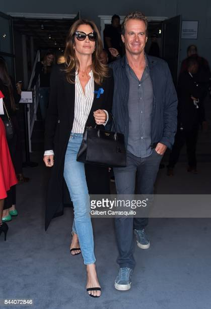 Model Cindy Crawford and Rande Gerber arrive at the Brock Collection fashion show during New York Fashion Week Presented By MADE at Gallery 2...