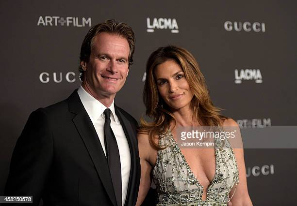 Model Cindy Crawford and Rande Gerber attend the 2014 LACMA Art Film Gala honoring Barbara Kruger and Quentin Tarantino presented by Gucci at LACMA...