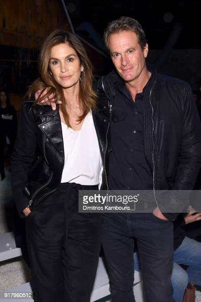 Model Cindy Crawford and Rande Gerber attend the Calvin Klein Collection front row during New York Fashion Week at New York Stock Exchange on...