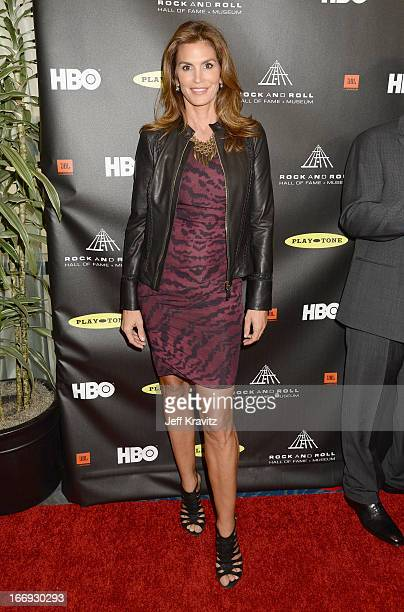 Model Cindy Crawford arrives at the 28th Annual Rock and Roll Hall of Fame Induction Ceremony at Nokia Theatre LA Live on April 18 2013 in Los...