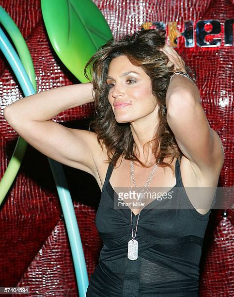 Model Cindy Crawford arrives at the grand opening of her husband Rande Gerber's Cherry Nightclub inside the Red Rock Casino April 22 2006 in Las...