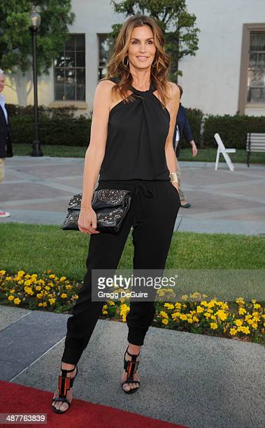 Model Cindy Crawford arrives at the Los Angeles premiere of Return To Zero at Paramount Theater on the Paramount Studios lot on May 1 2014 in...