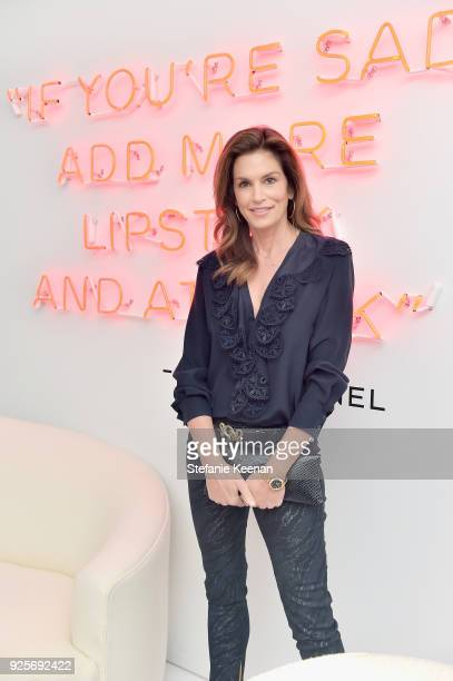 Model Cindy Crawford attends a Chanel Party to Celebrate the Chanel Beauty House and @WELOVECOCO at Chanel Beauty House on February 28, 2018 in Los...