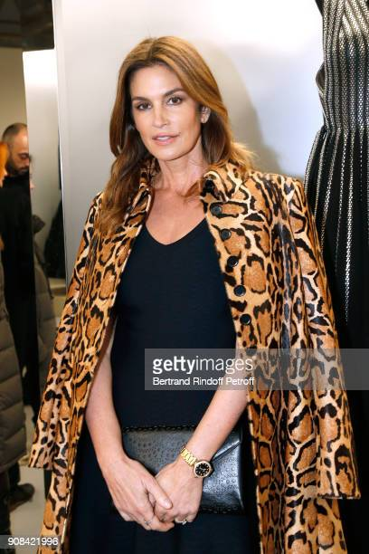 Model Cindy Crawford attends the 'Azzedine Alaia Je Suis Couturier' Exhibition as part of Paris Fashion Week Held at 'Azzedine Alaia Gallery' on...