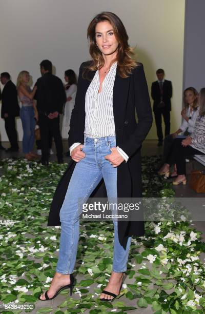 Model Cindy Crawford attends the Brock Collection fashion show during New York Fashion Week Presented By MADE at Gallery 2 Skylight Clarkson Sq on...