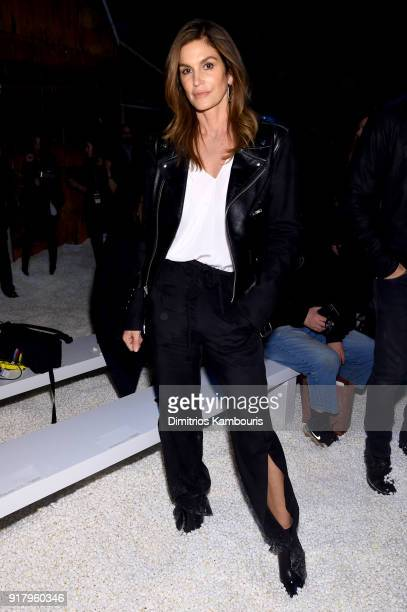 Model Cindy Crawford attends the Calvin Klein Collection front row during New York Fashion Week at New York Stock Exchange on February 13 2018 in New...
