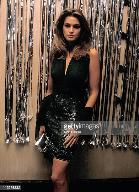 Model Cindy Crawford attends the Hooray for Hollywood Gala to Benefit amfAR on April 5 1988 at Bloomingdale's in New York City