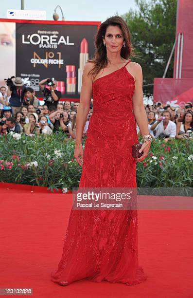Model Cindy Crawford attends The Ides Of March premiere during the 68th Venice Film Festival at the Palazzo del Cinema on August 31 2011 in Venice...