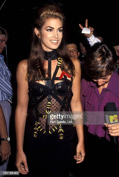 Model Cindy Crawford attends the Ninth Annual MTV Video Music Awards on September 9 1992 at the Pauley Pavilion UCLA in Westwood California