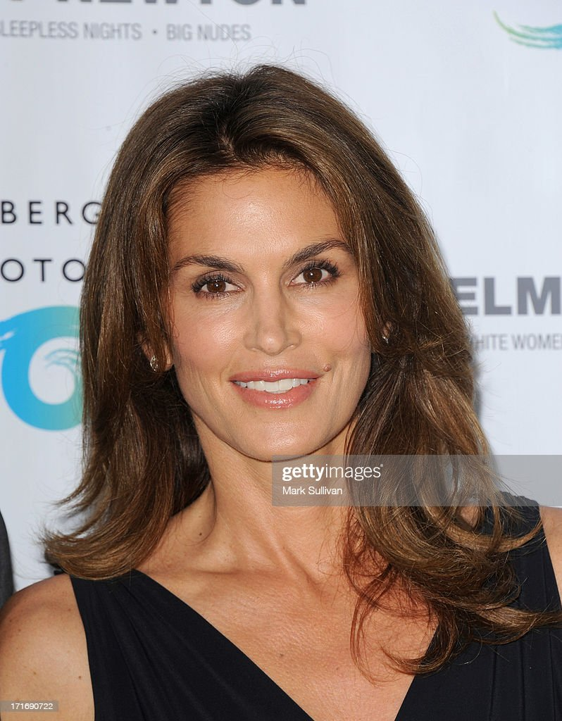 Model Cindy Crawford attends the opening of Helmut Newton
