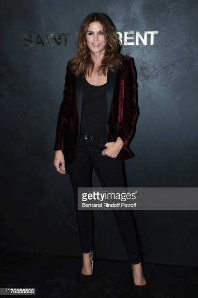 Model Cindy Crawford attends the Saint Laurent Womenswear Spring/Summer 2020 show as part of Paris Fashion Week on September 24, 2019 in Paris,...