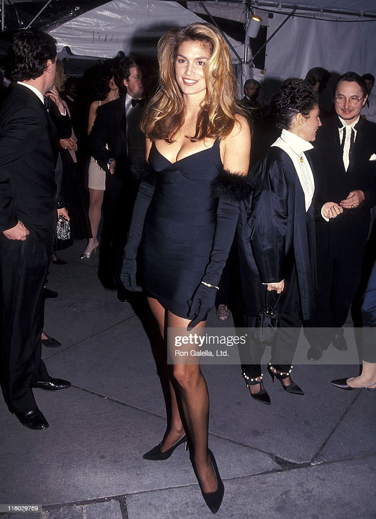 Model Cindy Crawford attends the Vogue Magazine's 100th Anniversary Celebration on April 2, 1992 at the New York Public Library in New York City.