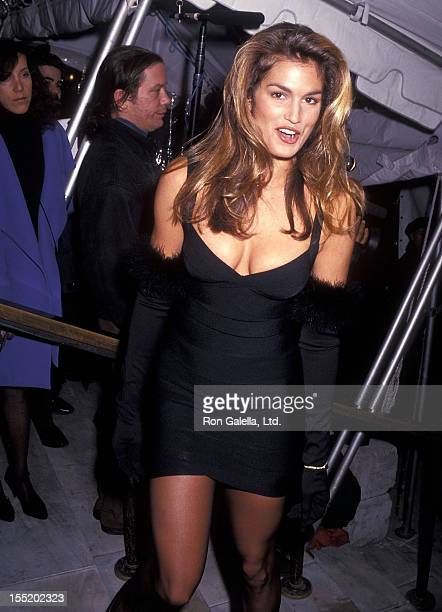 Model Cindy Crawford attends the Vogue Magazine's 100th Anniversary Celebration on April 2 1992 at the New York Public Library in New York City