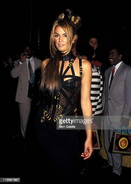 Model Cindy Crawford attends Versace's Rock 'N Rule Fashion Show Gala to Benefit amfAR on September 14 1992 at Park Avenue Armory in New York City