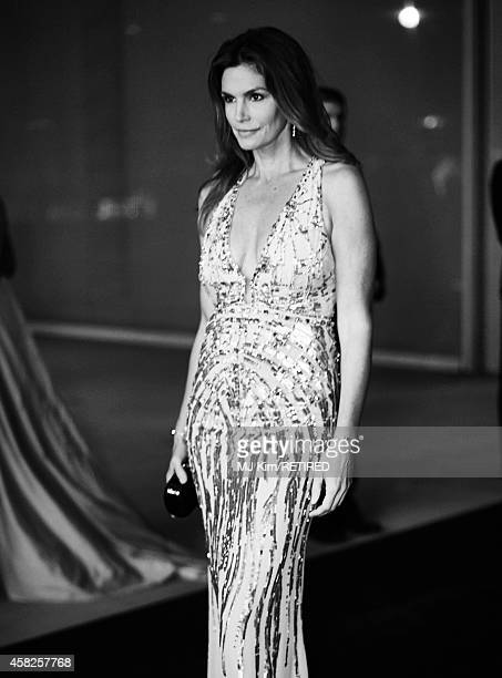 Model Cindy Crawford is photographed at the 2014 LACMA Art Film Gala Honoring Barbara Kruger And Quentin Tarantino Presented By Gucci on November 1...