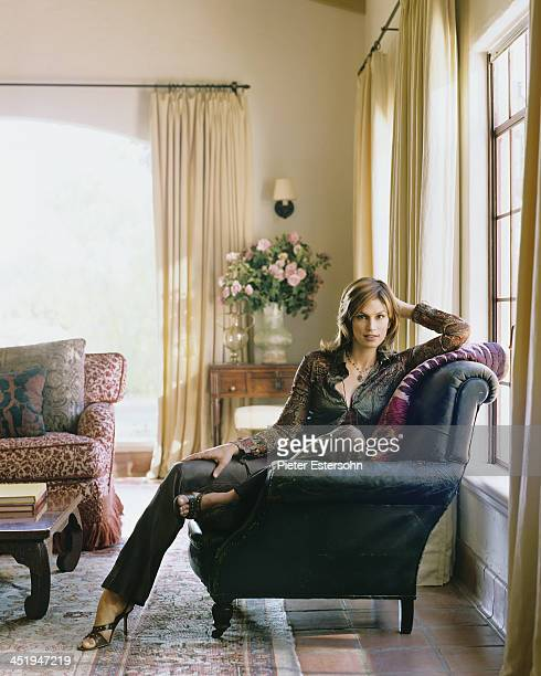 Model Cindy Crawford is photographed for Elle Decor in 2002 at home in Brentwood California COVER IMAGE