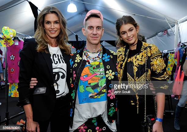 Model Cindy Crawford Moschino Creative Director Jeremy Scott and model Kaia Gerber pose backstage at the Moschino Spring/Summer 17 Menswear and...