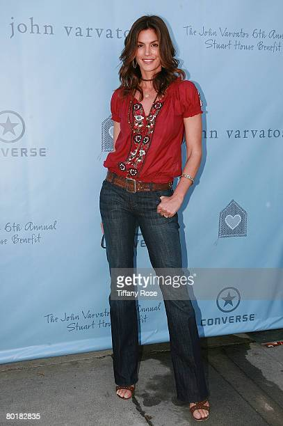 Model Cindy Crawford poses at The John Varvatos 6th Annual Stuart House Benefit at the John Varvados Boutique March 9 2008 in West Hollywood...