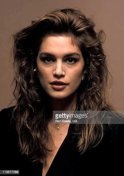 Model Cindy Crawford promotes Halston's new fragrance on February 26 1990 at Bloomingdale's in New York City