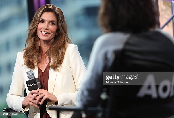 Model Cindy Crawford speaks with Entertainment editorial director Donna Freydkin at AOL at AOL Build Presents Cindy Crawford's 'Becoming' at AOL...
