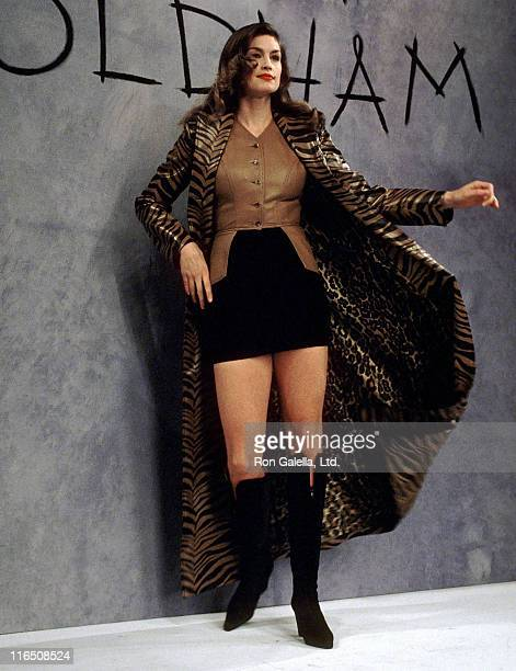 Model Cindy Crawford walks the runway at the Fall 1994 Fashion Week Todd Oldham Fashion Show on April 7 1994 at Bryant Park in New York City
